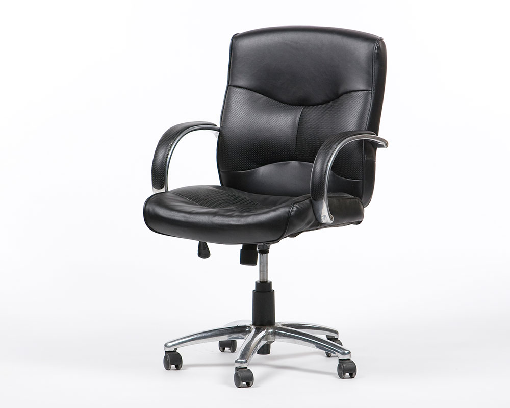 Ergonomic Leather Arm Chair Black Townrent Film Industry Event And Office Furniture